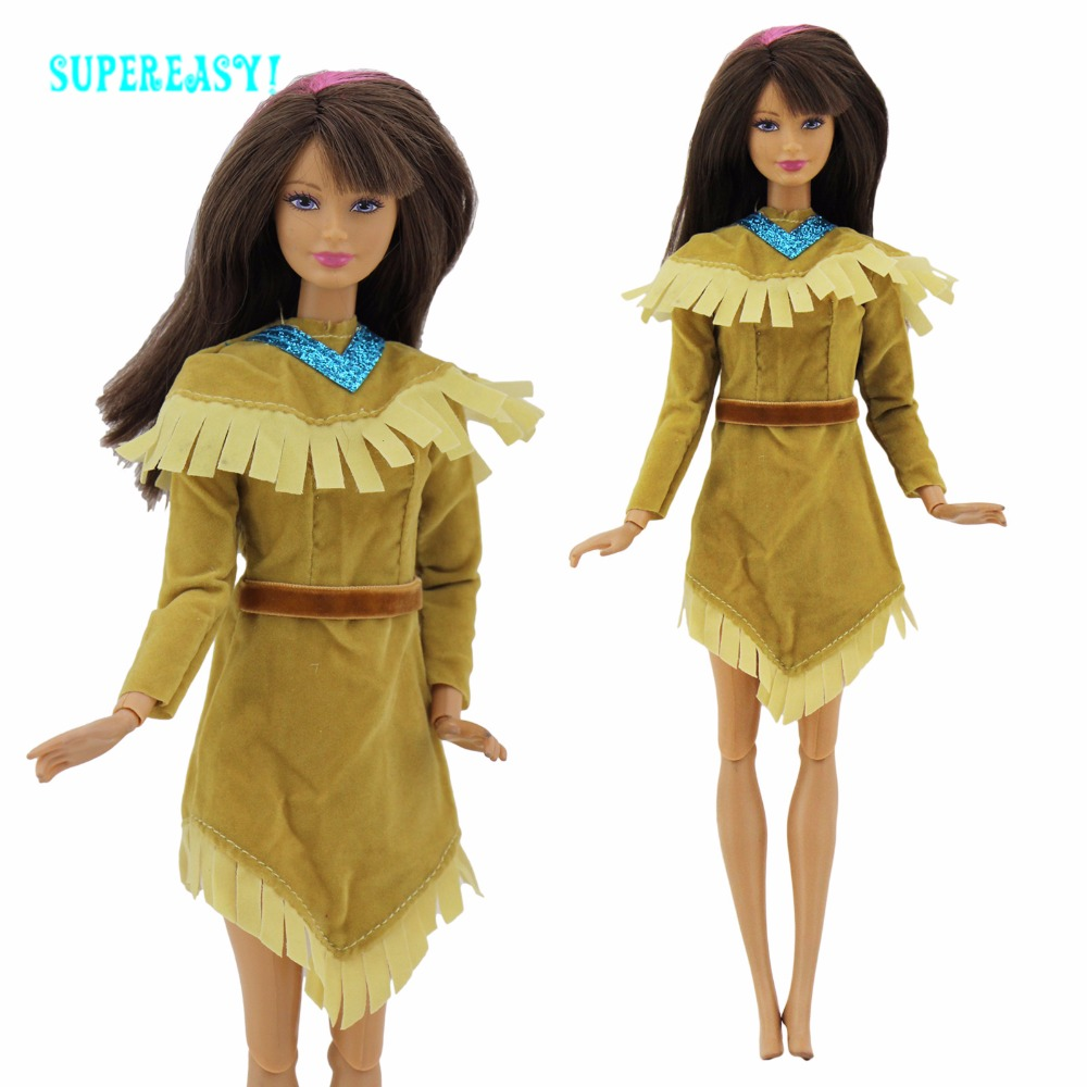 Unique Indian Gown Lengthy Sleeves Outfit Princess Mini Robe Copy Pocahontas Costume For Barbie FR Kurhn Doll Garments With Belt