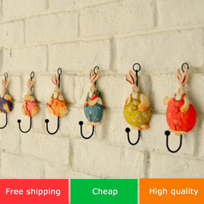 free shipping Fashion modern rustic multicolour rabbit wrought iron decoration hook resin coat clothes children's clothing(China (Mainland))