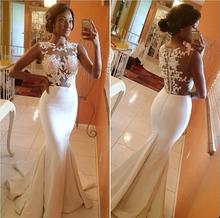Buy 2017 Vestidos De Novia Casamento Robe De Mermaid High Collar Cap Sleeves Ivory Lace Wedding Dresses Wedding Gown Bridal Dresses for $75.00 in AliExpress store