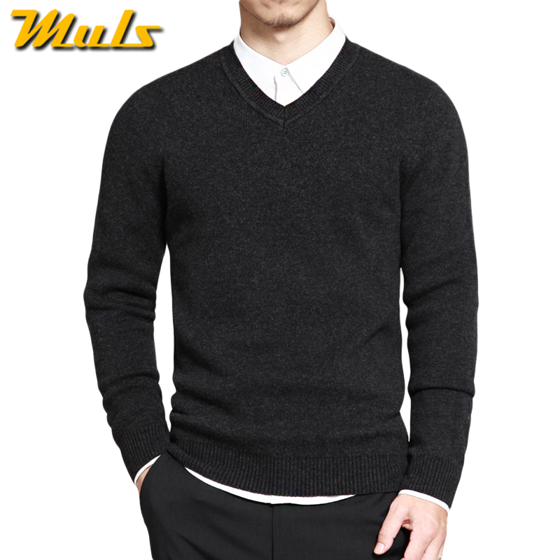 Muls mens pullover sweaters Simple style cotton knitted V neck long sleeve sweater jumpers M-4XL mens brand clothing MS16004(China (Mainland))