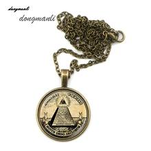 MZA1035 nuevo orden símbolo illuminati masónico colgante collar antiguo ilustración impresión del cartel del vintage accesorios de la joyería(China (Mainland))