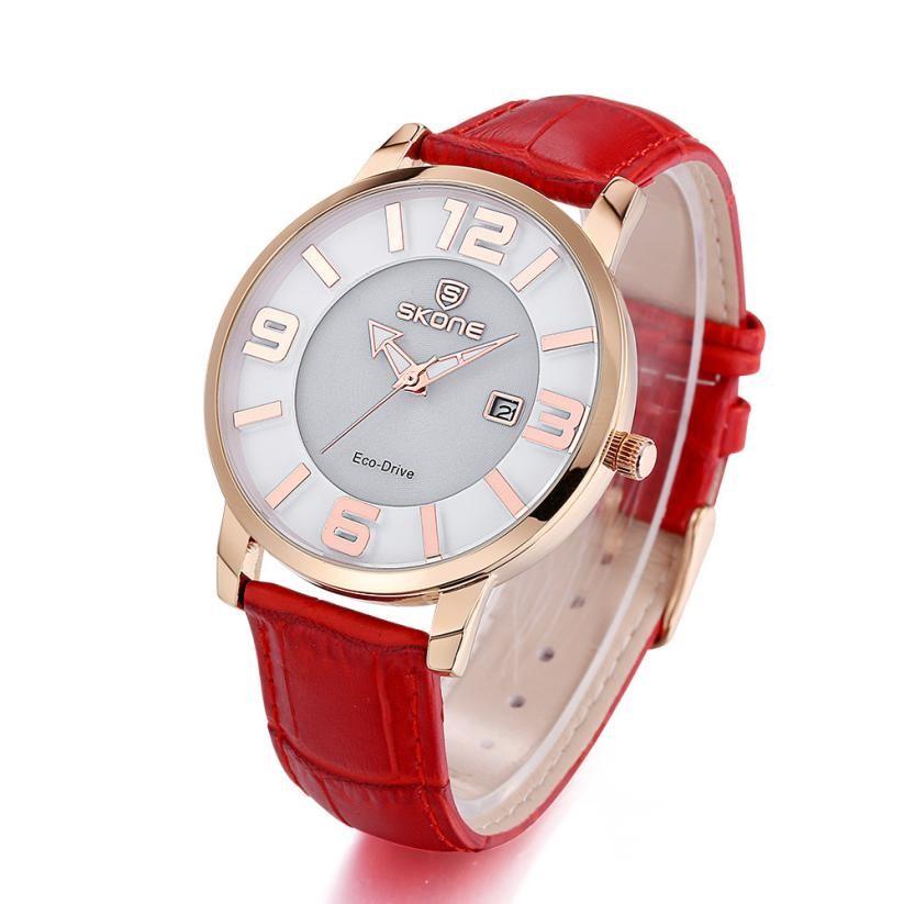 2016 SKONE Brand New Часы Женщины Моды Кожа Кварцевые Часы Браслет Часы Для Дам