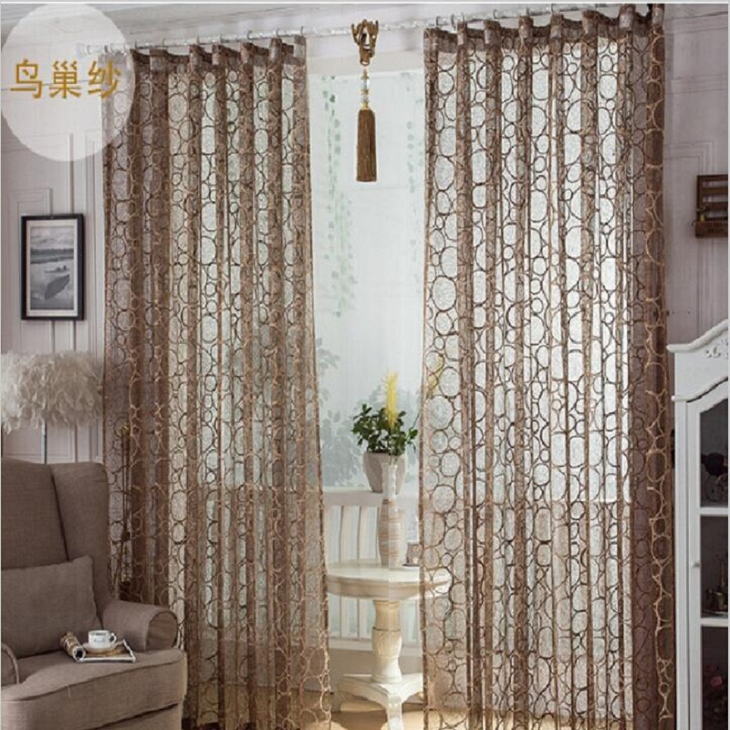High quality birds nest pattern window screens decorative for Curtains in living room
