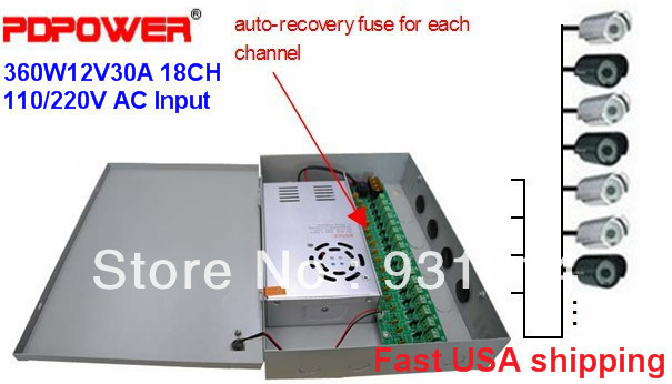 18CH DC 12V 30A CCTV Power Supply Distribution Box Security Cameras, CE/Rohs/FCC/IEC & 2-year warranty - PDPower Technology Ltd. store