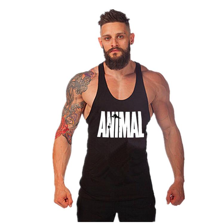 Животное гимнастика фитнес контейнер верхний мужчины стрингер золотых медалей бодибилдинг мускулы рубашка тренировки жилет хлопок спорт нательное бельё одежда