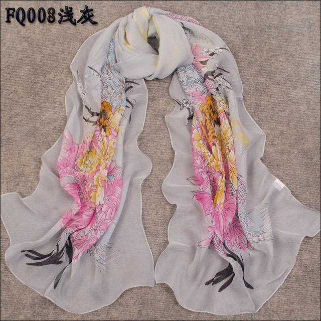 Super smooth 2012 fashion long design faux silk scarf chiffon scarf