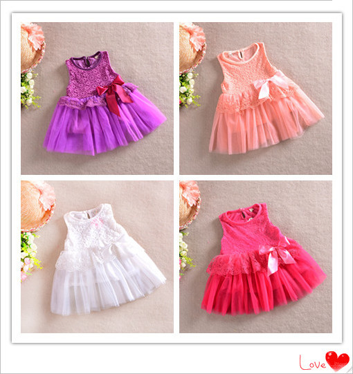 free shipping 2014 spring-summer flower bow lace chiffon baby girl princess dresses fit 1-4 years(China (Mainland))