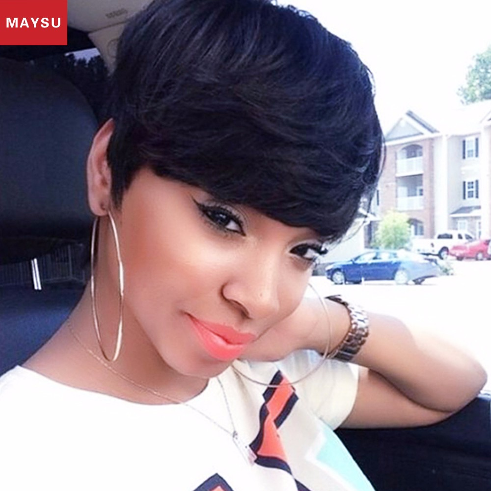 MAYSU Short Human Hair Wigs For Black Women African American Wig Layered Glueless None Lace Human Hair Wigs Black Wigs