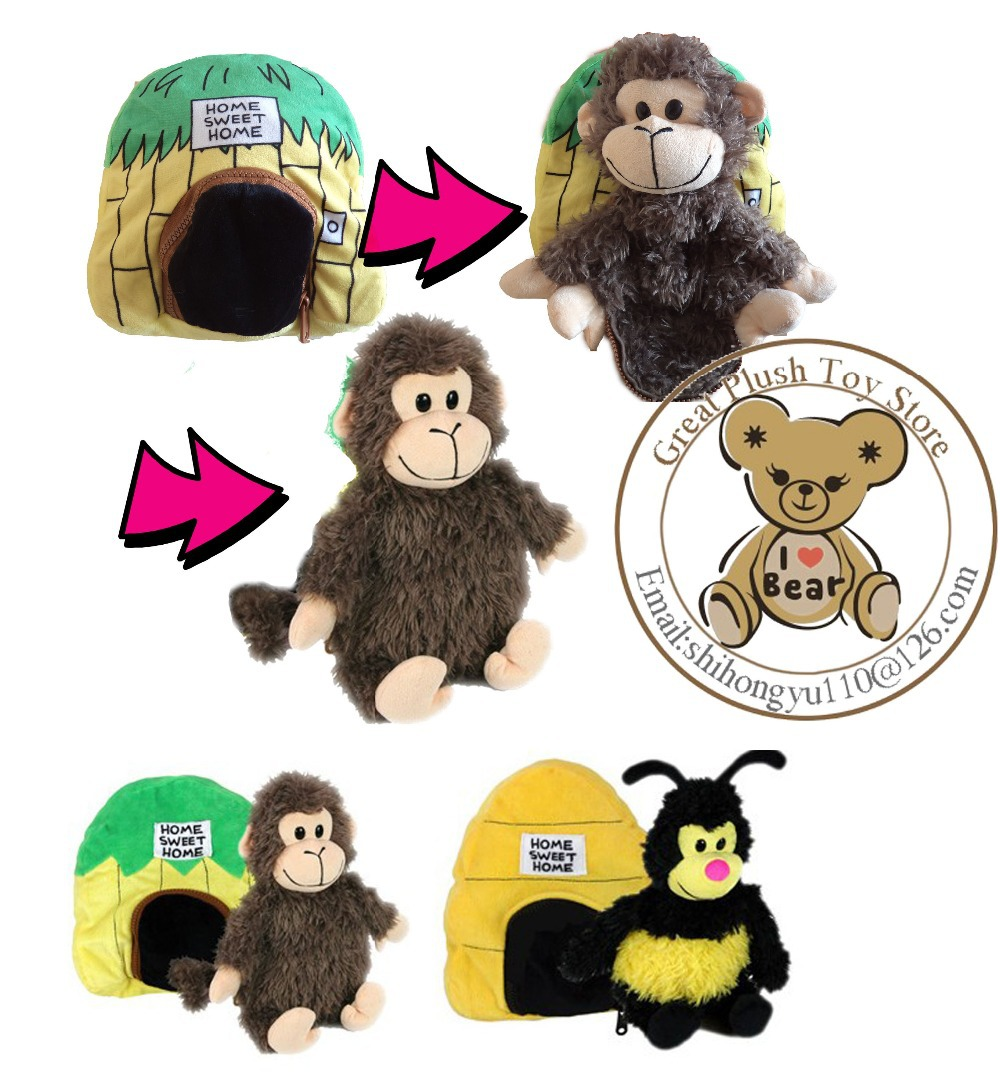 35cm New Design Stuffed Animals & Plush Toy Monkey, 2 pcs Novelty Plush Monkey & Bee Toys Live In Sweet Home Gift for Kids Toys(China (Mainland))