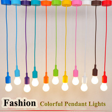 Colorful Pendant Lights E27 Silicone Lamp Holder Pendant Lamps 11 Colors DIY Home Decoration Lighting 100cm Cord+Ceiling Rose(China (Mainland))