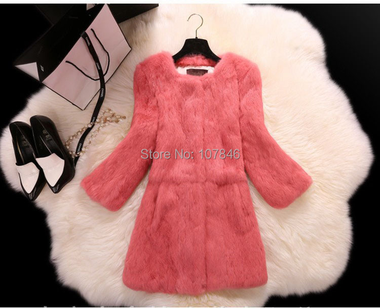 Lady Genuine Real Whole Skin Rabbit Fur Coat Jacket Autumn Winter Women Fur Outerwear Coats Female Clothing VK2261