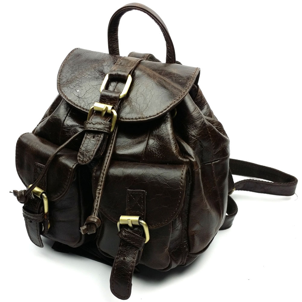 Girl's backpacks Women's cheap wax oil genuine leather backpacks fashion small backpack coffee bags Causal bags(China (Mainland))