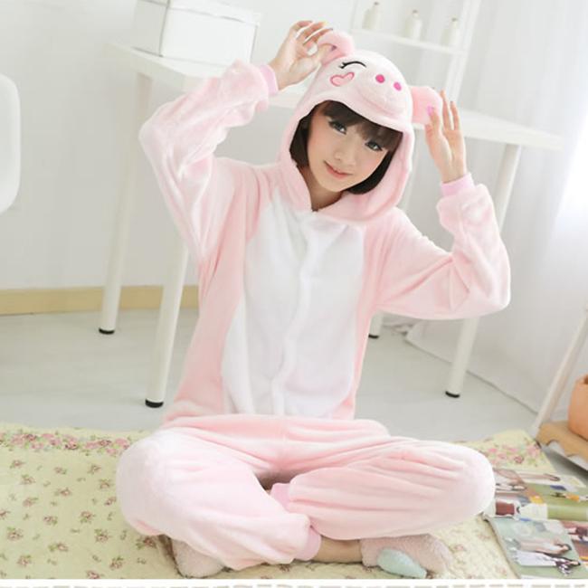 2016 Adult Unisex Adult Pajamas Adult Animal Pyjama Sets pink pig Cartoon Onesies Cosplay Costume Sleepwear(China (Mainland))