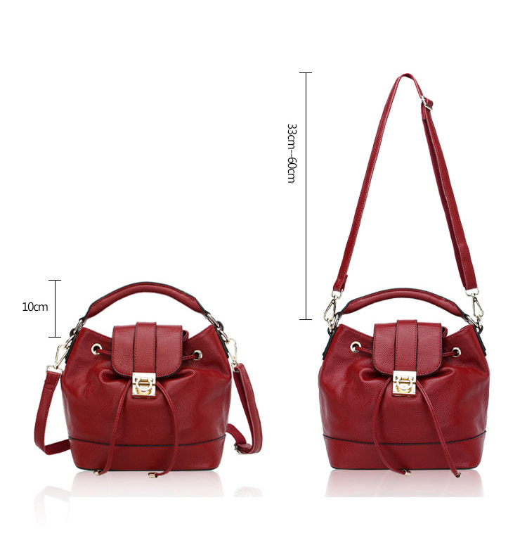 FASHION NATIONAL STYLE COW FIRST SKIN GENUINE LEATHER WOMENS LITCHI BUCKET TYPE HANGBAG SHOULDER BAG STRING CLOSE UT88798<br><br>Aliexpress