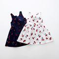 2 7y Girls Clothing Summer Girl Dress Children Kids Berry Dress Back V Dress Girls Cotton