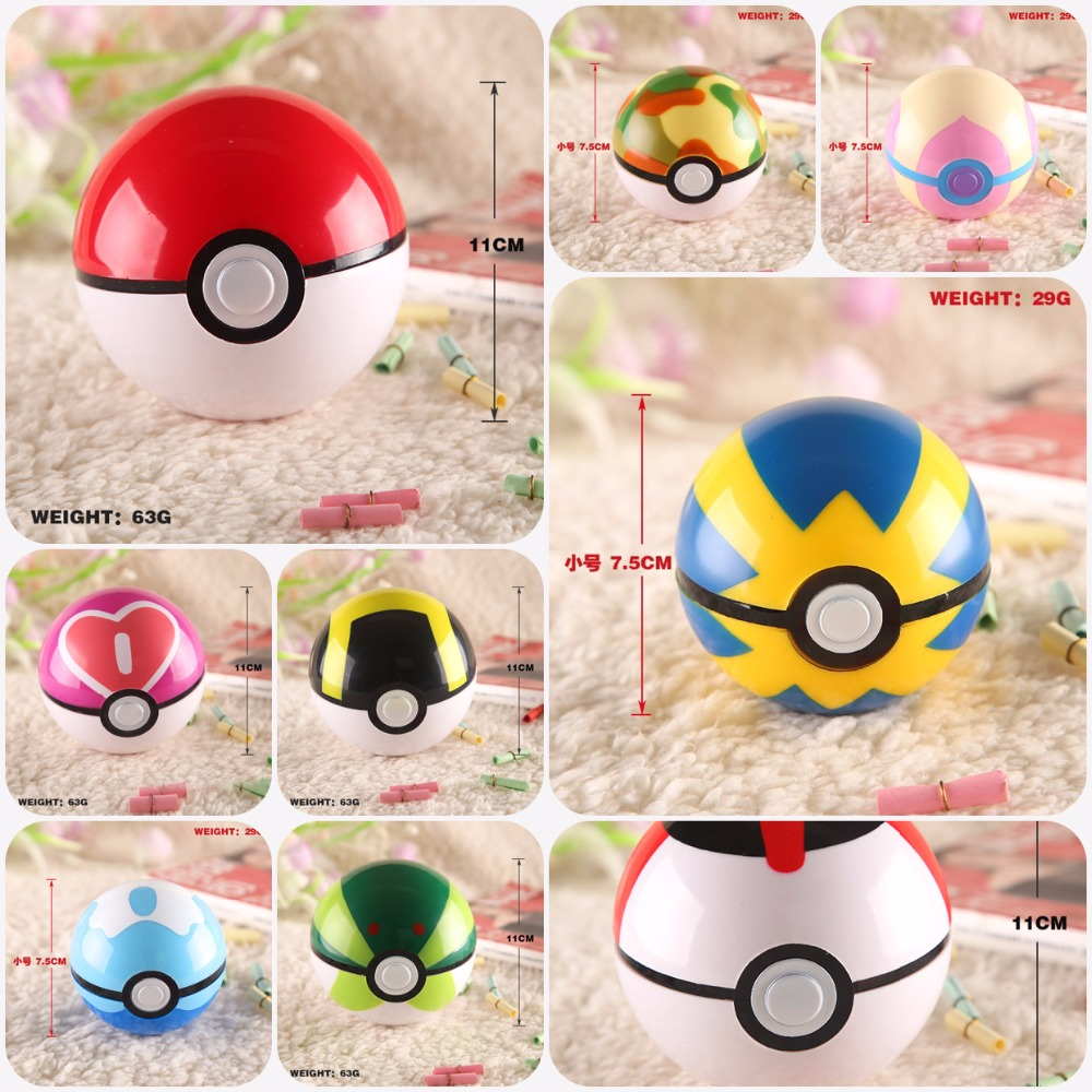 JP cartoon anime Pokemon Pikachu Espeon Charmander Squirtle Poke Ball (with gift)button opened model toy ornament middle Size(China (Mainland))