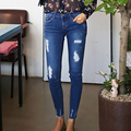 2016 spring plus size jeans for woman hole elastic skinny pants pencil pants summer ankle length
