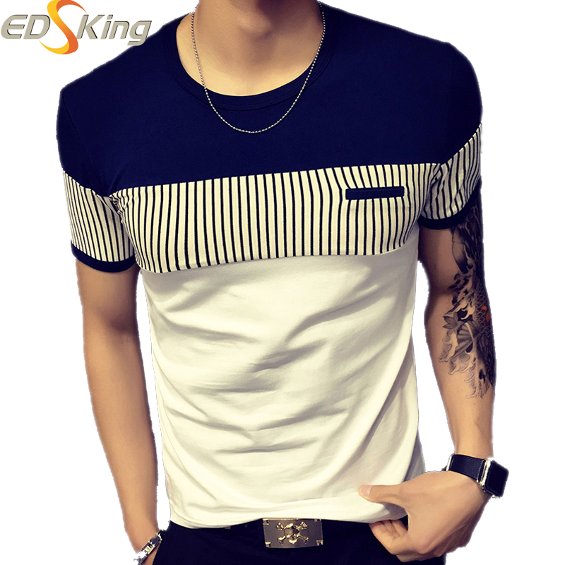 2016 Fashion Mens T Shirt Men Casual Short Sleeve Designer Brand O-Neck Patchwork Poleras Hombre Cool T-Shirt Brand Clothing(China (Mainland))