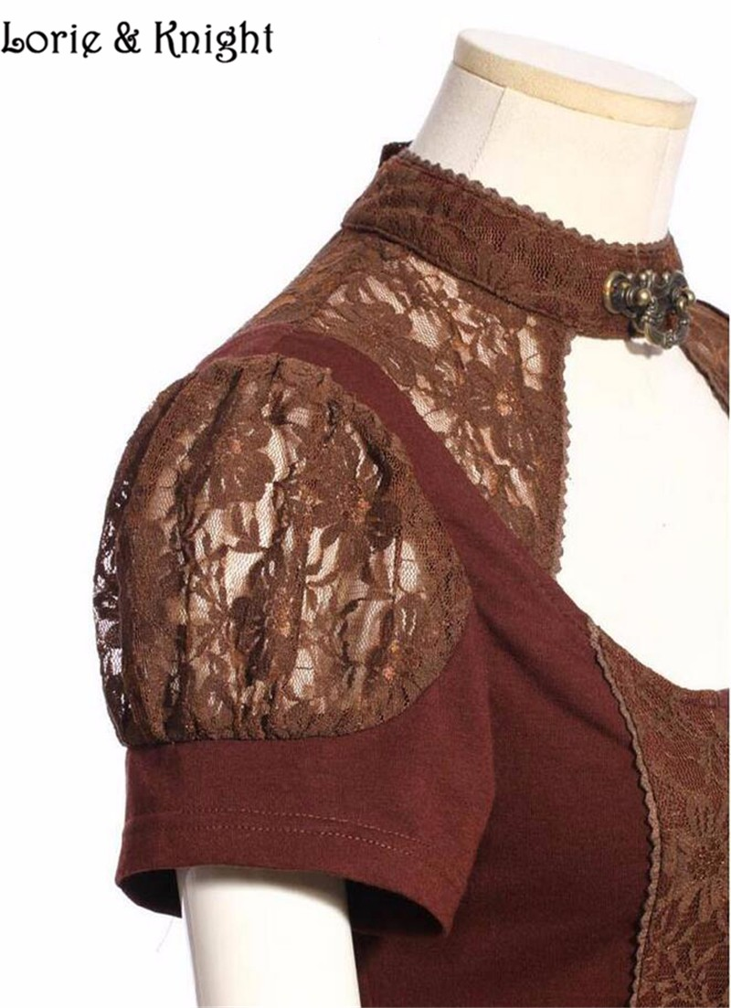 Womens Short Sleeve Victorian Steampunk Coffee Lace Blouse