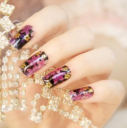 2015 new fashion glitter nail foil beauty flowers & gold stamping stylish design nail wraps free shipping(China (Mainland))