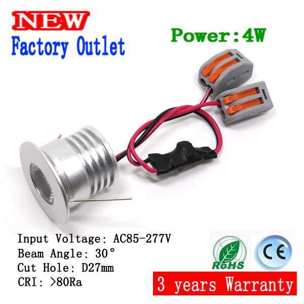10pcs 4W Mini LED Downlight Kit 6pcs 1 in Under 4W Cabinet Recessed Light 27mm cut 30/60D 85-277V CE ship free(China (Mainland))