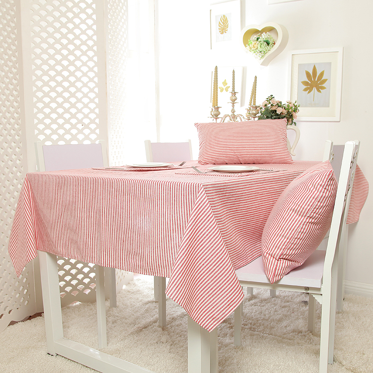 100 Cotton Zakka Style Pink Stripe Table Cloth High Quality Tablecloth  Table Cover Manteles Para