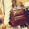 Vintage Casual New Style Leather Brown School Bags High Quality Women Famous Designer Brand Ladies Backpack