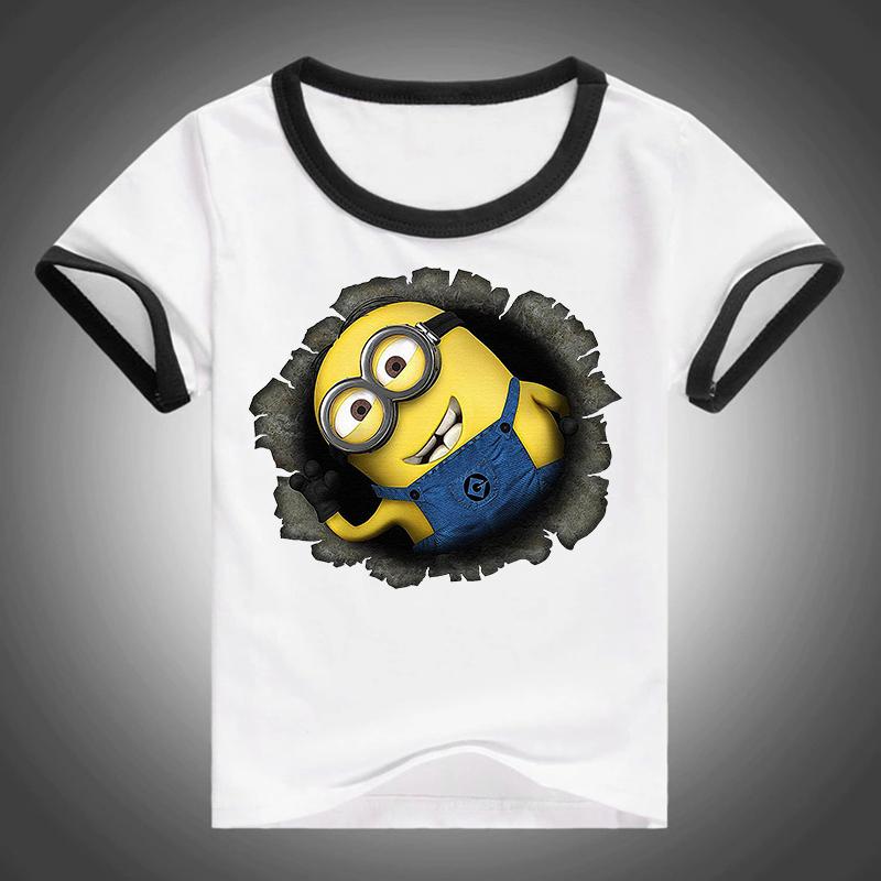 New Geek Star Wars T Shirt Kids Minions Spiderman Short Sleeve T-shirt Children Boys and Girls Top Tees Cotton 5-16 years old(China (Mainland))