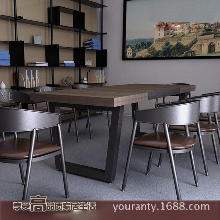 However excellent vintage American country home wood dining tables and chairs, wrought iron rectangular table multifunction desk(China (Mainland))