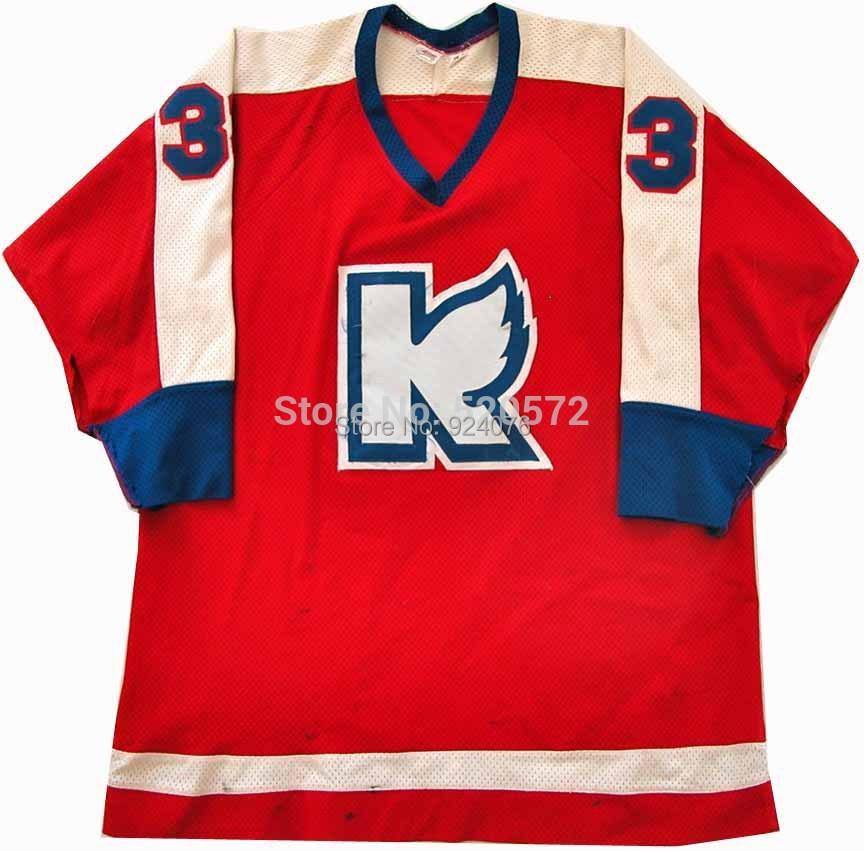 1984-85 Ron Hextall Kalamazoo Wings #33 Game Worn Jersey Red - Customized Free Custom Service(China (Mainland))