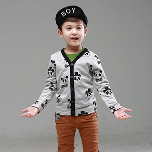 Kids knit cotton sweaters spring autumn coat children 2015 new clothing baby boys cardigan size 90-130(China (Mainland))