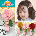 New Summer Baby Girls Flower With Leaf Hair Clips 3 Colors Rose Floral Style Children Barrettes