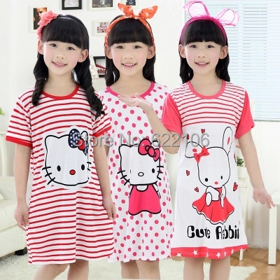 Cotton Nightdress Short Sleeve Nightgown Summer Children Girls Cotton Pijama Dress Hello Kitty Verao Chemise De