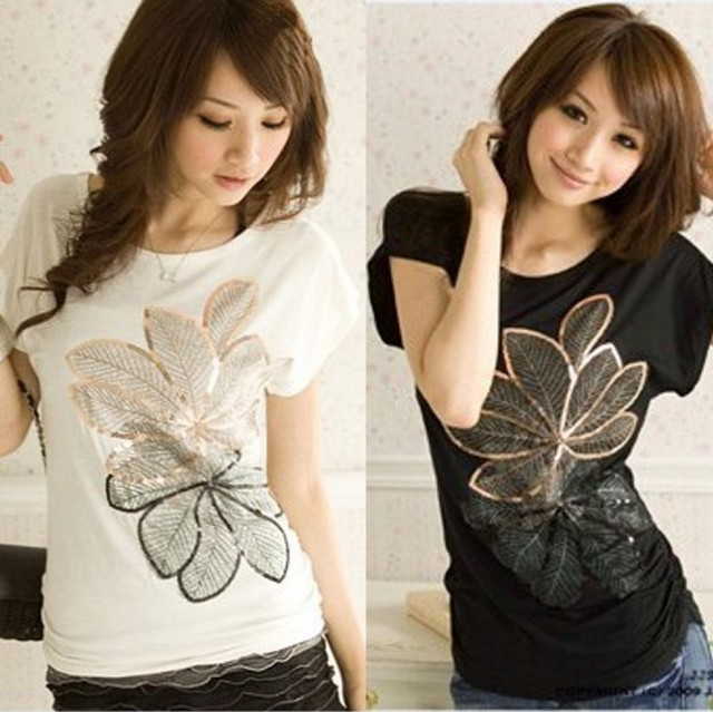 Women T-shirt Time-limited Appliques 2015 Spring Loose O-neck Short-sleeve T-shirt for women's Basic Cotton Shirt Summer