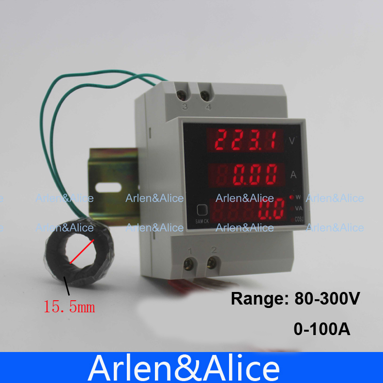Din rail voltmeter ammeter 80-300V 0-100.0A display active and Apparent power factor With extral CT Current Transformer<br><br>Aliexpress