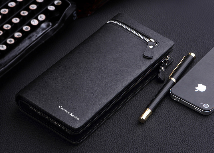 Men Leather Large Bifold Wallet Business Handbag New Fashion Purse Carteira Card Cash Receipt Holder Organizer Free Shipping(China (Mainland))