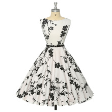 Women Summer Dress 2016 plus size clothing Audrey hepburn Floral robe Retro Swing Casual 50s Vintage Rockabilly Dresses Vestidos(China (Mainland))