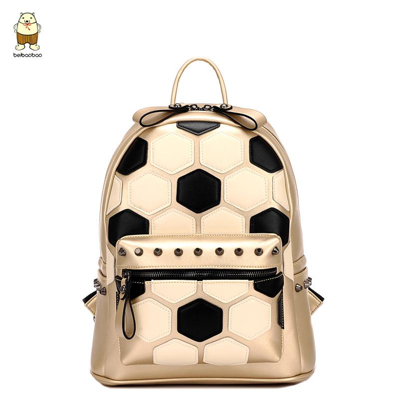 Mochilas Escolares Femininas Women Backpack Fashion Football Geometric Printing Backpack Rivet Bagpack Beibaobao B76D3<br><br>Aliexpress
