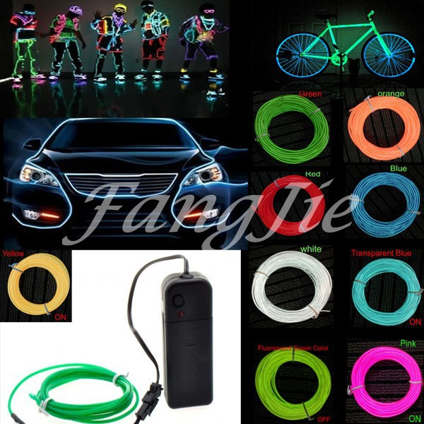 10 Color Choice 5M Car decorative Led thread sticker indoor decals tags 2AA 3Vaccessory Flexible Neon Light EL Wire Rope Tube(China (Mainland))