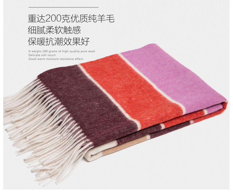 2016 Upset Pure Wool Scarf Female Spring And Winter Color Stripe Long Warm Dual-purpose Korean Shawl