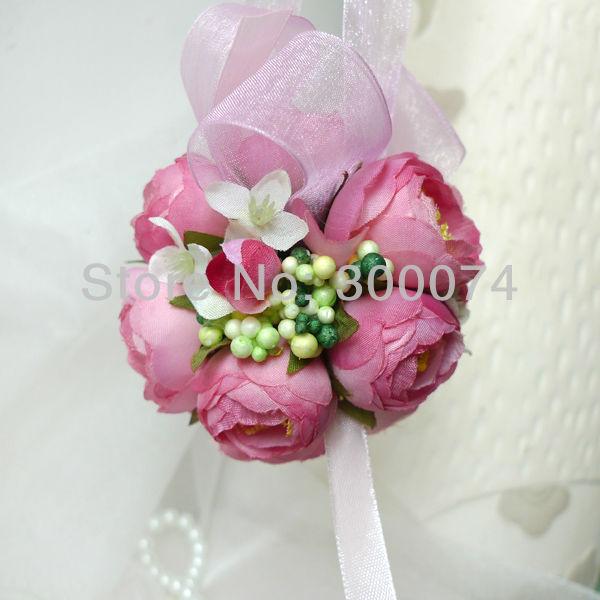 "3"" =7.5cm Decorative Silk Tea Rose/ Camellia Flower Ball, Kissing ball, wedding, Christmas, events or Festive& Party Supplies(China (Mainland))"