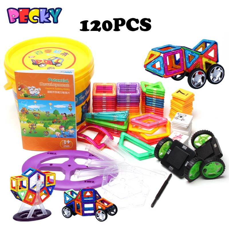 Becky Magformers Toy Bricks 53pcs 120 Pieces More 3D Magnetic Block Building DIY Bricks  Magaformers Kids Toy With Tub<br><br>Aliexpress