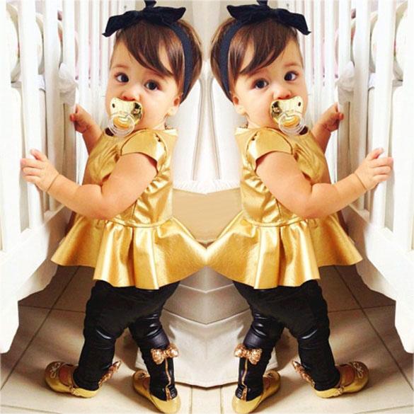 Retail Fashion Baby Girls Kids Shirt Dress + Legging Pants Children Clothes Sets Suit Outfits Golden+Black - Drop& store