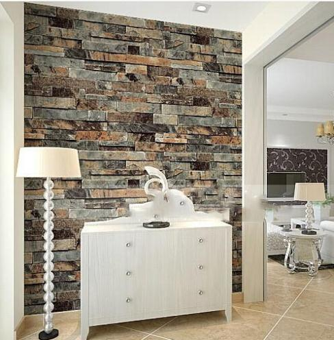 Modern 3d stone brick wallpaper dining room kitchen for Calecon avec slip interieur