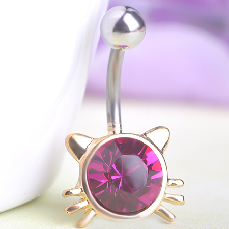 Favour Lotus Lingerie Body Jewelry Rhinestone Hello Kitty Cat Navel Belly Barbell Button Bar Ring Piercing Men Jewelry Gothic(China (Mainland))