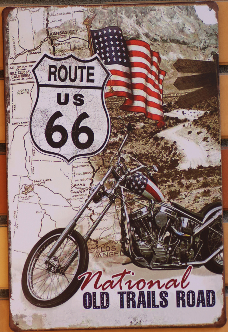 20 30cm Metal Tin Sign Poster Vintage Us Route 66 Motorcycle Bar Pub Home Wall Decor Retro Art
