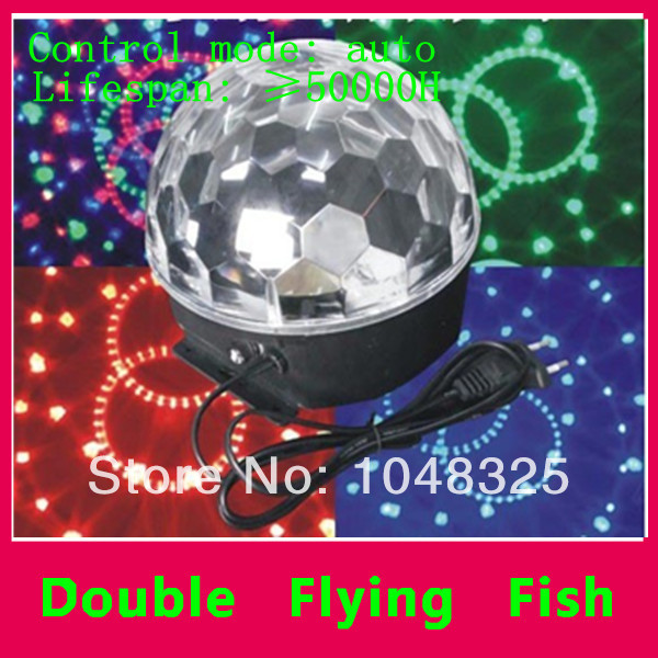 Free shipping- Full Color Hot Sale 6W Crystal Magic Ball Rotating Disco DJ RGB LED Stage Lighting Bulb<br><br>Aliexpress