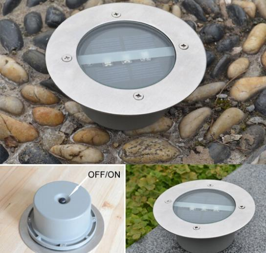 4pcs/lot Outdoor Lighting Solar Powered Panel LED Floor Lamps Deck Light 3 LED Underground Light Garden Pathway Spot Lights(China (Mainland))