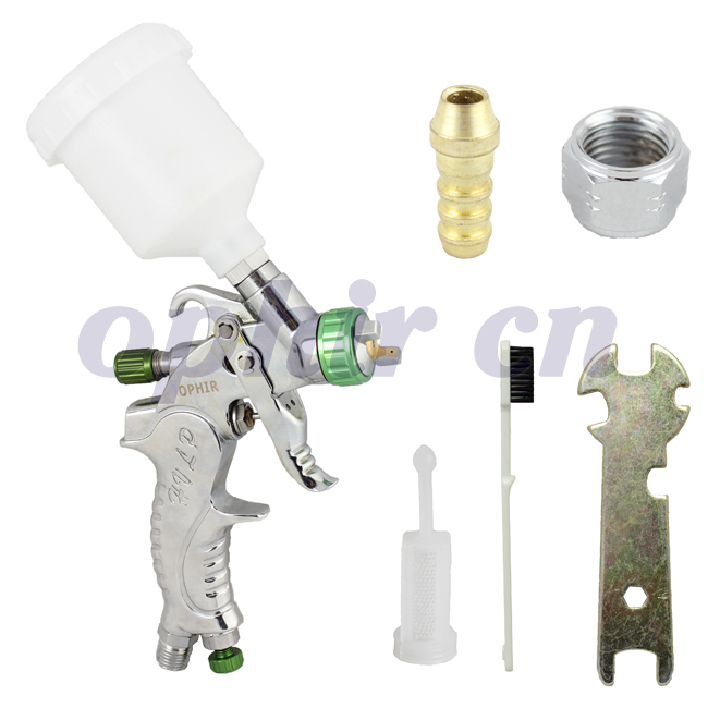OPHIR New Mini Detail Touch-Up HVLP Spray Gun 1.0mm Tip Basecoat Auto Paint 120CC Plastic Cup Sprayer Power Tools_AC046(1.0mm)(China (Mainland))