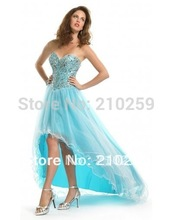 2015 elegant fashion cocktail dresses with Sweetheart Crystal beaded asymmetrical light blue pageant dress for prom party(China (Mainland))
